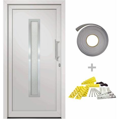 Porte d'entrée principale Blanc 98x200 cm