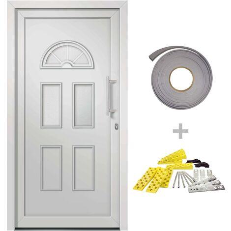 Porte d'entrée principale Blanc 98x208 cm