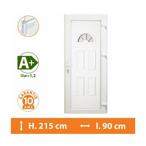Porte d'entrée PVC Blanc - Tirant Droit - Hercule - Blanc