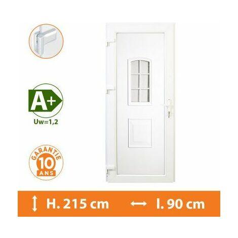 Porte d'entrée PVC Blanc - Tirant Droit - Orion - Blanc