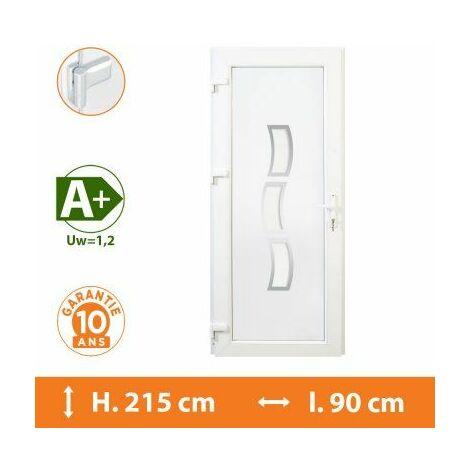 Porte d'entrée PVC Blanc - Tirant Gauche - Phoenix - Blanc