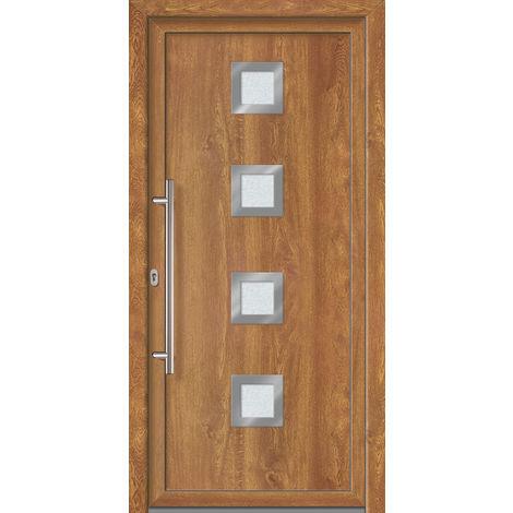 Porte d'ingresso principali esclusive modello 884 dentro: bianco, al di fuori: golden oak