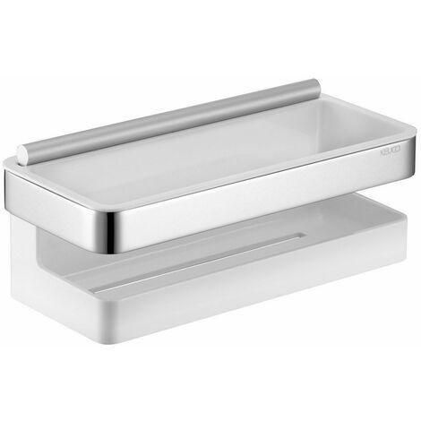 Porte-éponge avec raclette intégrée série MOLL - Finition : Chromé / Blanc