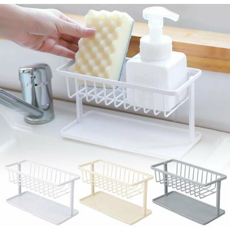 Porte-éponge pour évier de cuisine, porte-évier de cuisine, évier de cuisine en plastique ABS Organisateur de porte-brosse éponge pour égouttoir de liquide de lavage de savon, panier d'évier de vaisselle, étanche à la poussière et durable
