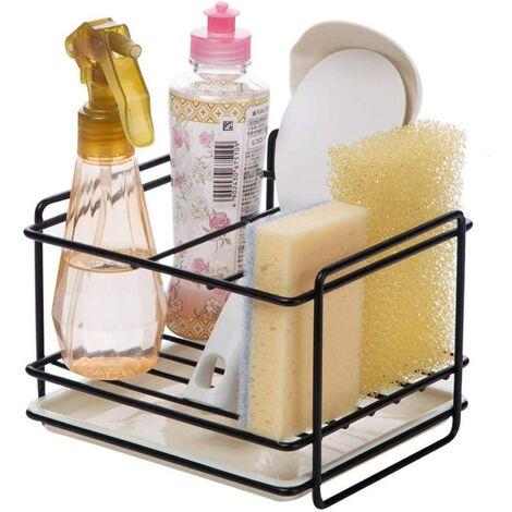 Porte éponges cuisine rangement d'évier support d'éponge en le fer panier porte-ustensiles chiffon de nettoyage et pinceaux support pour liquide vaisselle range-savon