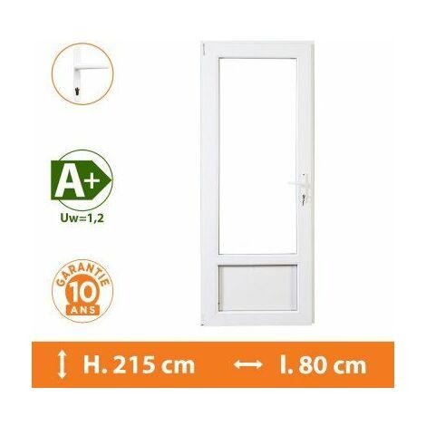 Porte-Fenêtre 1 vantail Blanc - Tirant Droit - H.215 x l.80 cm - Blanc