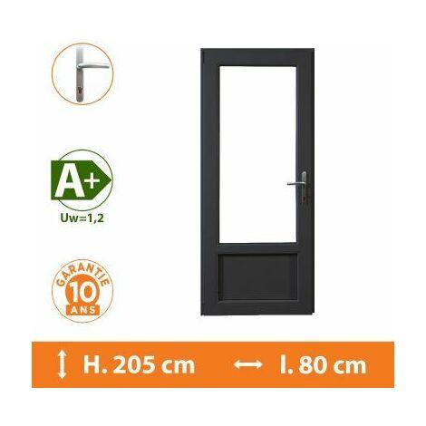 Porte-Fenêtre 1 vantail Gris - Tirant Gauche - H.205 x l.80 cm - Gris