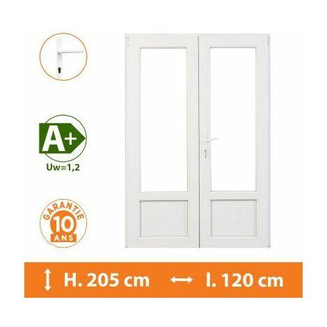 Porte-Fenêtre 2 vantaux Blanc - H.205 x l.120 cm - Blanc