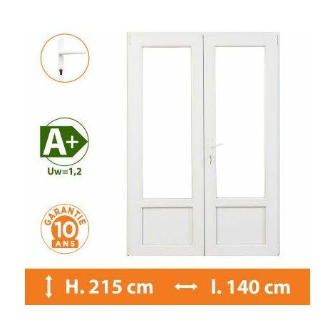 Porte-Fenêtre 2 vantaux Blanc - H.215 x l.140 cm - Blanc
