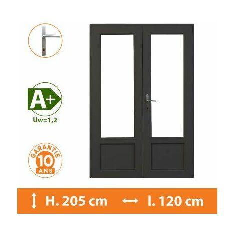 Porte-Fenêtre 2 vantaux Gris - H.205 x l.120 cm - Gris