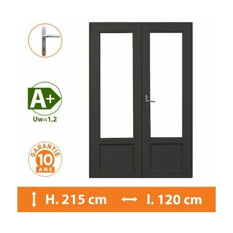 Porte-Fenêtre 2 vantaux Gris - H.215 x l.120 cm - Gris
