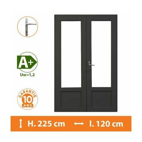 Porte-Fenêtre 2 vantaux Gris - H.225 x l.120 cm - Gris