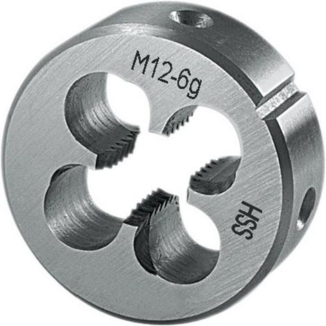 Porte-filière, métrique, en acier à coupe rapide, Filetage : M12, Pas 1,75 mm, Ø extérieur x hauteur 38 x 14 mm