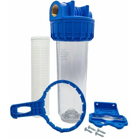 """Porte filtre à eau 9""""3/4 - 26/34F + filtre lavable 60µm"""