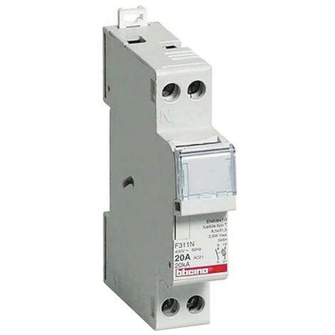 Porte-fusible Bticino 1p+N 20A 1 module de fusibles 8,5x31,5 mm F311N