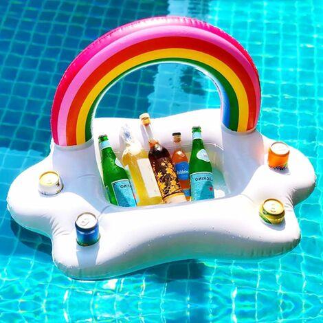 Porte-gobelet gonflable flottant arc-en-ciel nuage piscine porte-boissons flotteurs boisson salade fruits bar piscine flotteur fête accessoires été plage loisirs tasse porte-bouteille jouets enfants adultes