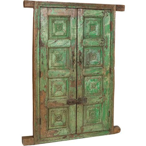 Porte grille de fenêtre en bois massif et fer ancien avec cadre intérieur ou extérieur