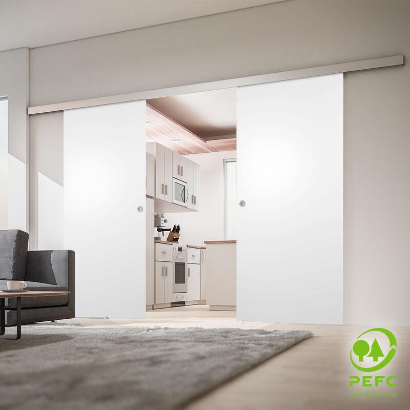 Porte coulissante intérieure Inova, 151 x 203 cm, bois blanc, 2 vantaux, 2 poignées différentes - Poignée carrée + double amortisseur Softclose