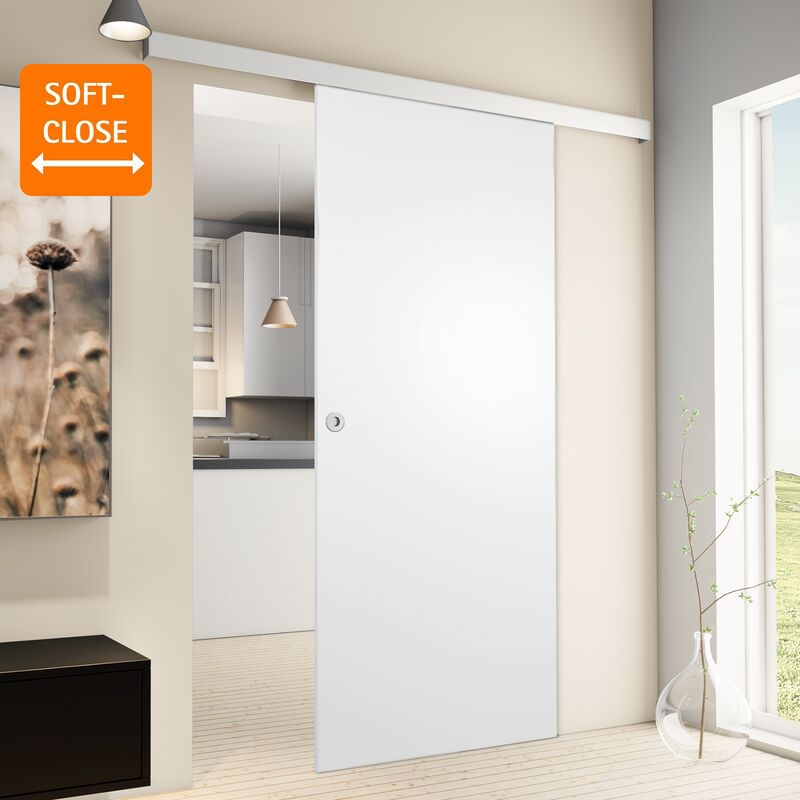Porte coulissante intérieure Inova, 75 x 203 cm, bois blanc, 2 poignées différentes, fermeture Softclose en option - Poignée ronde + Softclose
