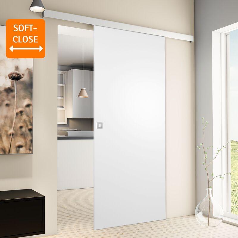 Porte coulissante intérieure Inova, 75 x 203 cm, bois blanc, 2 poignées différentes, fermeture Softclose en option - Poignée carrée + Softclose