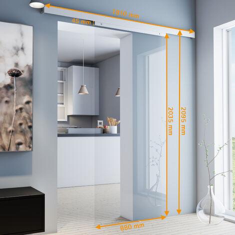 Porte coulissante intérieure en verre Inova, 88 x 203 cm, porte vitrée transparente, 3 poignées différentes, fermeture Softclose en option - Poignée carrée