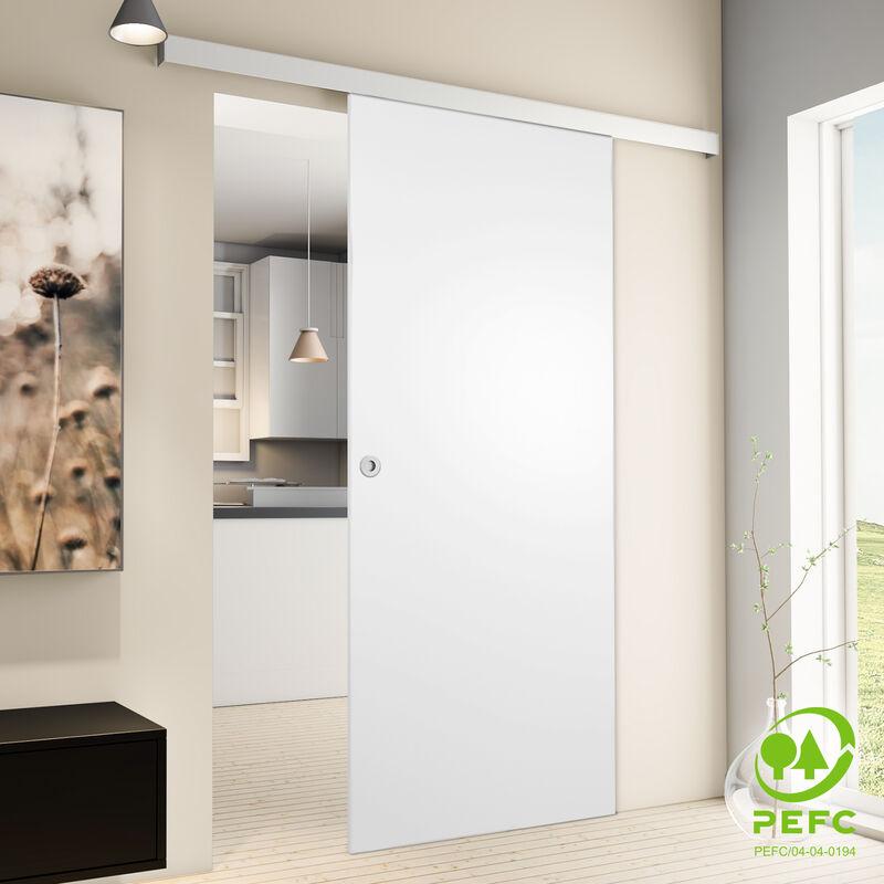 Porte coulissante intérieure Inova, 90 x 203 cm, porte en bois blanc, 2 poignées différentes, fermeture Softclose en option - Poignée ronde +