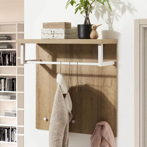 Porte-manteau avec Ètagère en Bois Design Moderne
