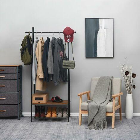 Porte-Manteau d'Entrée, Tringle à vêtements avec 2 Étagères et 2 Patères pour Chaussures-Meerveil