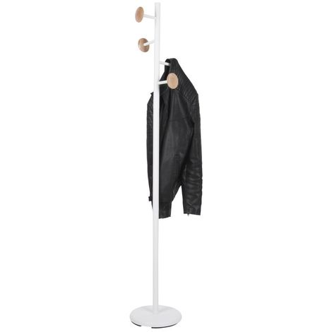 Porte manteau design scandinave Discs - Diam. 28 x H. 175 cm - Blanc - Blanc