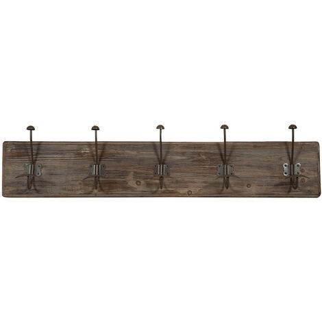 Porte-manteau en bois massif et fer forgé à la main finition bois vieilli L98 x PR10 x H21 cm
