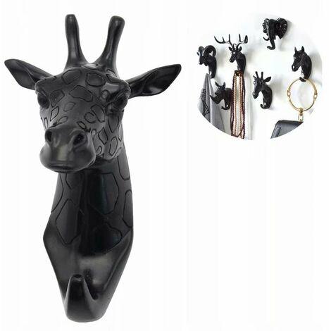 Porte-manteau et porte-manteau Porte-serviettes Crochet mural Porte-manteau Animal Clé Girafe noire