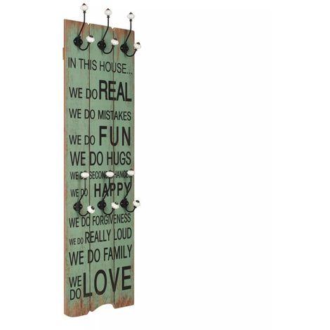 Porte-manteau mural avec 6 crochets 120 x 40 cm HAPPY LOVE