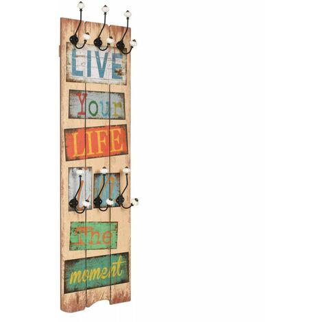 Porte-manteau mural avec 6 crochets 120 x 40 cm LIVE LIFE