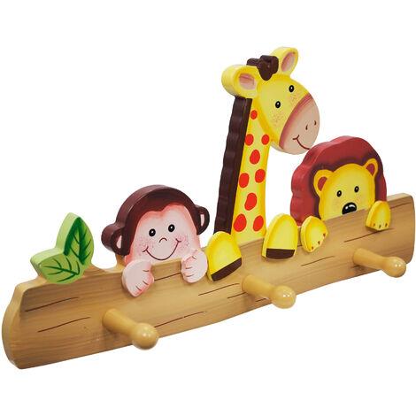 Porte-manteau murale enfant Sunny Safari bois 3 patères crochets mixte TD-11637A