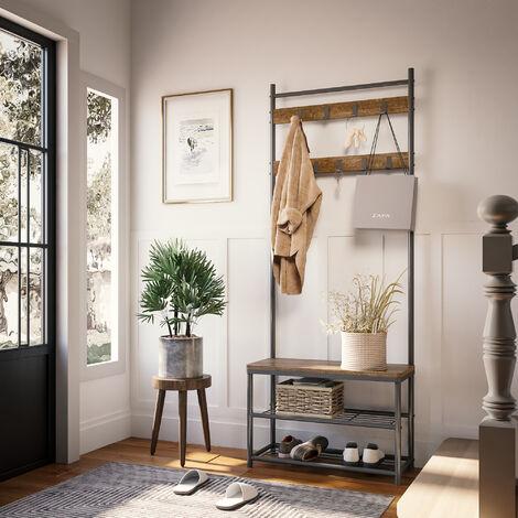 Porte-Manteau Portant Vestiaire Vintage à 3 Niveaux Garde-Robe Meuble d'entrée Etagère Rangement à Chaussures - Meerveil