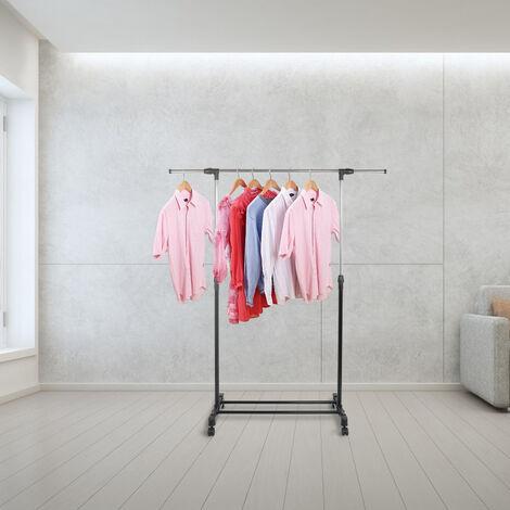 Porte-Manteau Portants De Vêtement En Acier Inoxydable Réglable Avec Roulettes