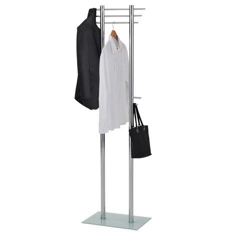 Porte-manteau TARIS portant à vêtements penderie sur pied avec 10 crochets et 3 tringles hauteur 179 cm, structure en métal chromé