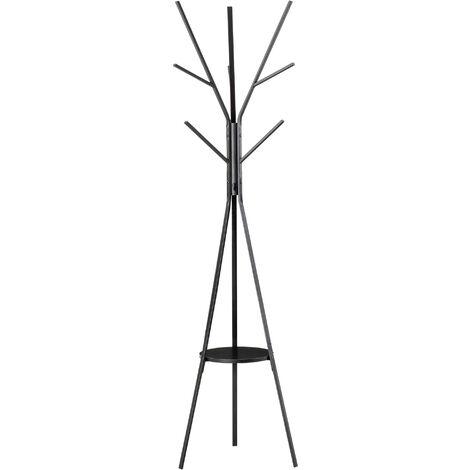 Porte-manteau trépied design contemporain branches étagère + 9 patères dim. 45L x 45l x 180H cm métal noir - Noir