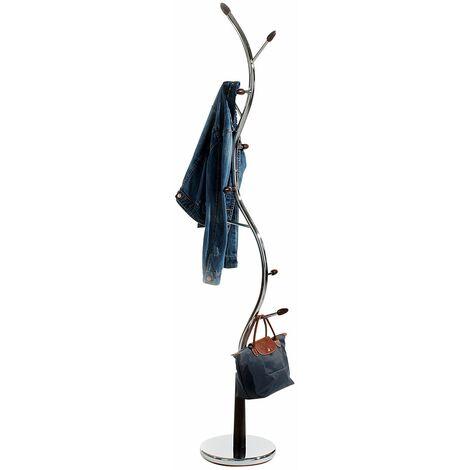 Porte-manteaux ASTRID portant à vêtements sur pied en forme d'arbre avec 9 crochets sur différentes hauteurs en métal chromé et bois