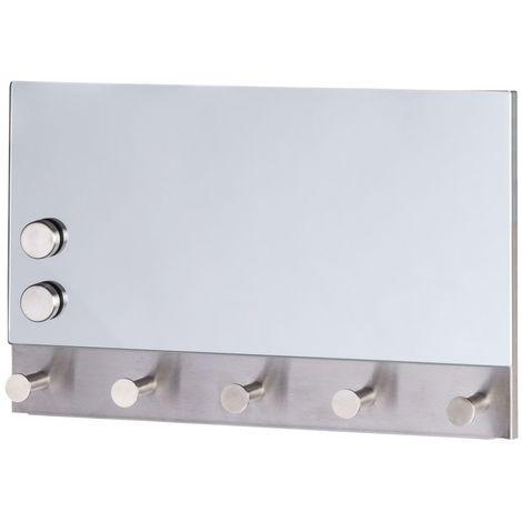 Porte-manteaux magnétique Miroir - 30 x 19 cm - Blanc - Blanc