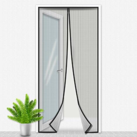 Porte Moustiquaire 100x215 cm Noir - Beige