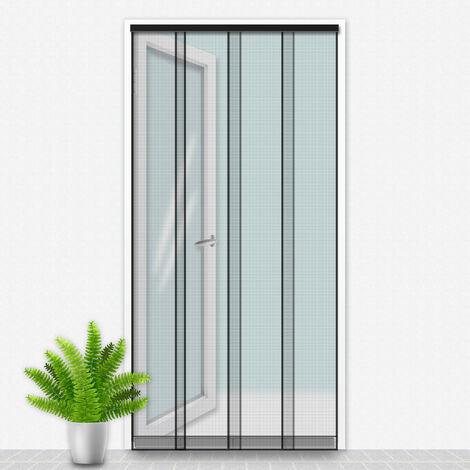 Porte Moustiquaire 100x220 cm Noir - Gris