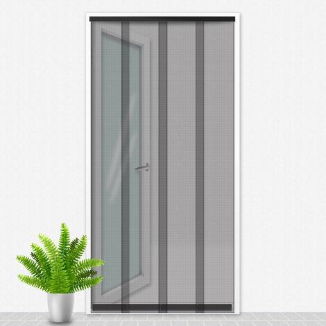 Porte Moustiquaire 100x235 cm Noir - Cristal
