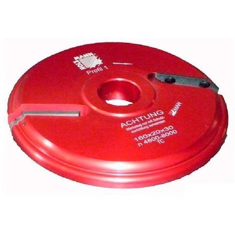 Porte-outil plate bande D. 160 x 20 x Al. 30 mm Z2 APF160 livré avec profil F1 - Holzmann - -