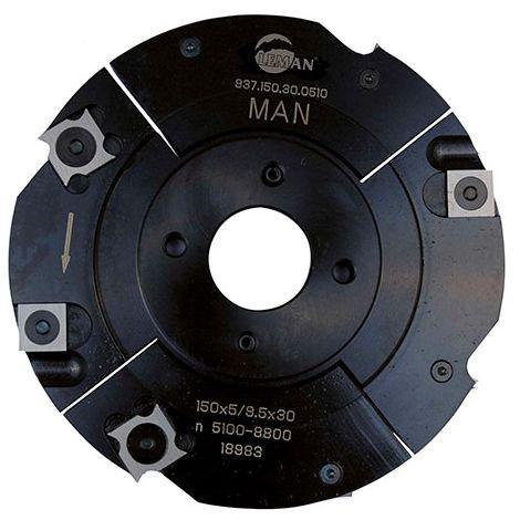 Porte-outils à rainer extensible D. 150 mm Al. 30 mm Ep. 5 mm Al. 9,5 mm Z4 et 4 - 937.150.30.0510 - Leman - -