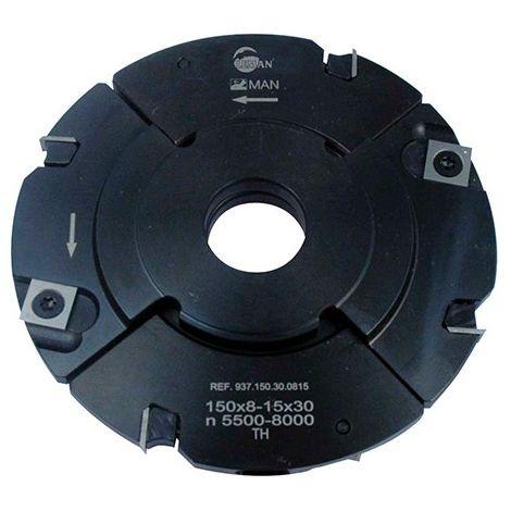 Porte-outils à rainer extensible D. 150 mm Al. 30 mm Ep. 8 mm Al. 15,5 mm Z4 et 4 - 937.150.30.0815 - Leman - -