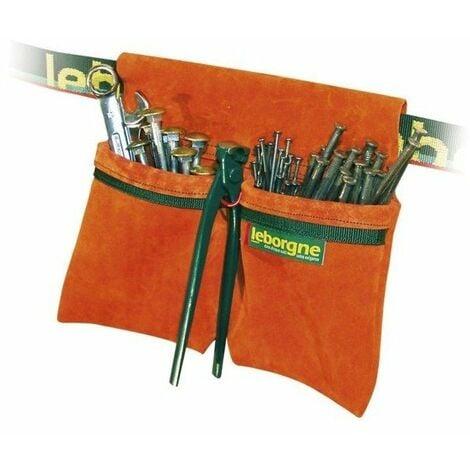 Porte outils bipoche croute de cuir + porte tenaille