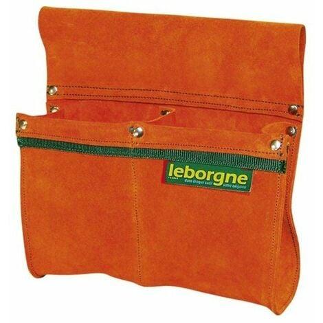 Porte outils double poche croute de cuir