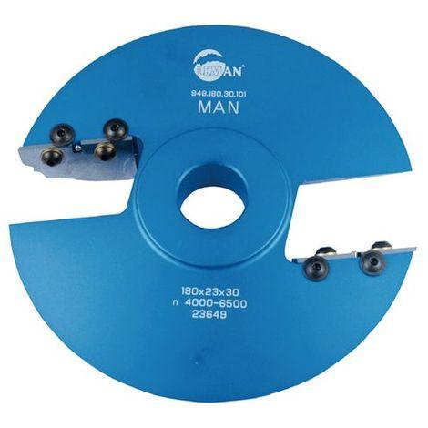 Porte-outils plate bande - travail dessus D. 180 Al. 30 mm Avt. 52mm Z2 profil N°101 - 948.180.30.101 - Leman - -