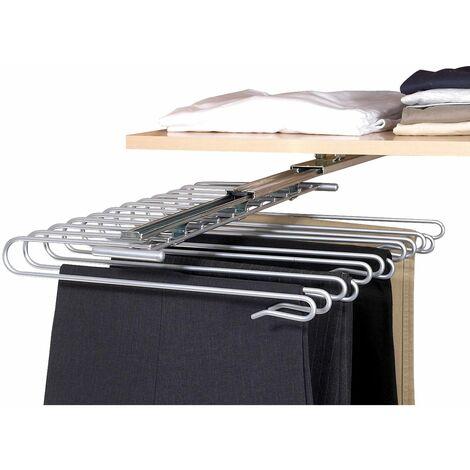 Porte pantalons pour penderie - pour 12 pantalons - Argent